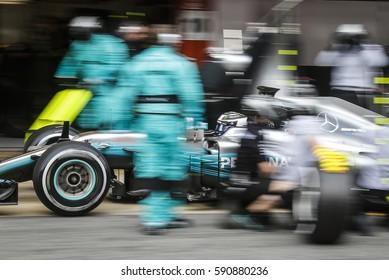Barcelona, Spain. February 27  F1 test days for the season 2017. Valtteri Bottas, Mercedes, during the pit-stop.