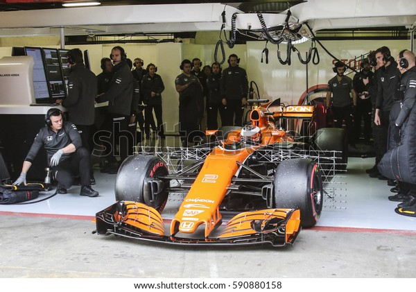 Barcelona, Spain. February 27 . F1 test days for the season 2017. Stoffel Vandoorne, driver Mclaren Honda.