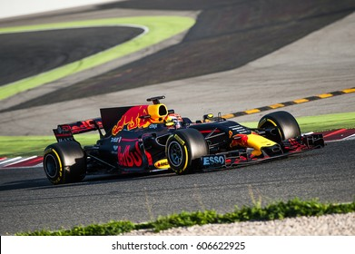 Barcelona, Spain - February 27 / March 2, 2017:  Max Verstappen, young driver Red Bull Racing F1 Team on track at Formula One testing at Catalunya circuit in Barcelona, Spain.
