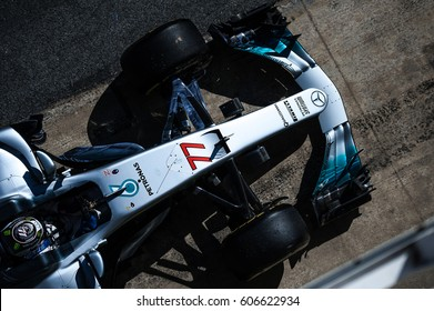 Barcelona, Spain - February 27 / March 2, 2017: Valtteri Bottas, Mercedes AMG Petronas F1 Team driver top view on car  at Formula One testing at Catalunya circuit  in Barcelona, Spain.