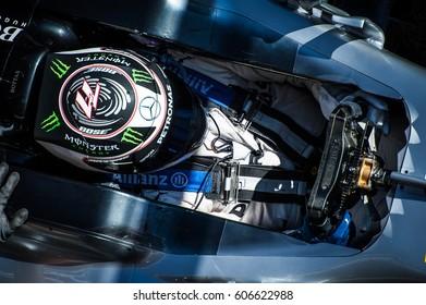 Barcelona, Spain - February 27 / March 2, 2017:  top view on Valtteri Bottas in helmet at Formula One testing at Catalunya circuit in Barcelona, Spain.