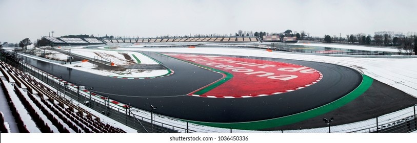 BARCELONA, SPAIN - FEBRUARY 28, 2018: Snow during Formula One Test Days at Circuit of Barcelona-Catalunya.