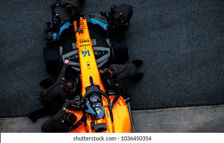 BARCELONA, SPAIN - FEBRUARY 28, 2018: Fernando Alonso during Formula One Test days 2018 at Circuit of Barcelona-Catalunya.