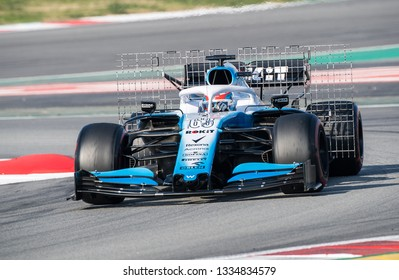 BARCELONA, SPAIN FEBRUARY 28, 2019: George Russell during Formula One Test days at Circuit of Barcelona-Catalunya.