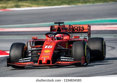BARCELONA, SPAIN FEBRUARY 28, 2019: Charles Leclerc during Formula One Test days at Circuit of Barcelona-Catalunya.