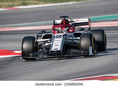 BARCELONA, SPAIN FEBRUARY 28, 2019: Antonio Giovinazzi during Formula One Test days at Circuit of Barcelona-Catalunya.