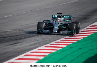 BARCELONA, SPAIN FEBRUARY 28, 2019: Lewis Hamilton during Formula One Test days at Circuit of Barcelona-Catalunya.
