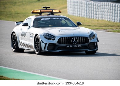 BARCELONA, SPAIN FEBRUARY 28, 2019: Safety Car during Formula One Test days at Circuit of Barcelona-Catalunya.