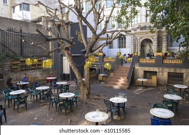 Barcelona, Spain - February 29, 2016: bohemian coffeshop Antic Teatre in Born Quarter Barcelona Catalonia Spain