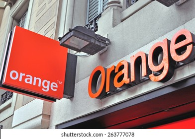 BARCELONA, SPAIN - FEBRUARY 7: Logo and sign of Orange mobile company on February 7, 2015. Orange is a French multinational telecommunications corporation.