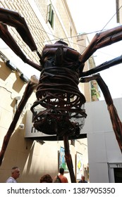 Barcelona, Spain - August 20, 2015: Giant spider as part of the Gracia Festival (Festes de Gracia) where there is a contest for the best garnished street.
