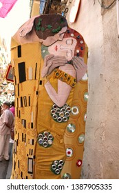 Barcelona, Spain - August 20, 2015: Handmade art as part of the Gracia Festival (Festes de Gracia) where there is a contest for the best garnished street.