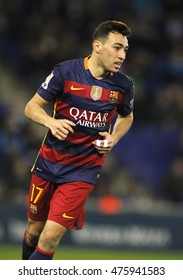 BARCELONA, SPAIN - JAN, 13: Munir El Haddadi of FC Barcelona durin a Spanish Kings Cup match against RCD Espanyol at the Power8 stadium on January 13, 2016 in Barcelona, Spain
