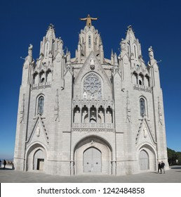 Barcelona, Spain - January 01, 2017: A wide angel panorama of the neo-Romanesque, neo-bizantine, neo-romanesque, neo-Gothic Expiatory Church of the Sacred Heart of Jesus, Barcelona, Spain