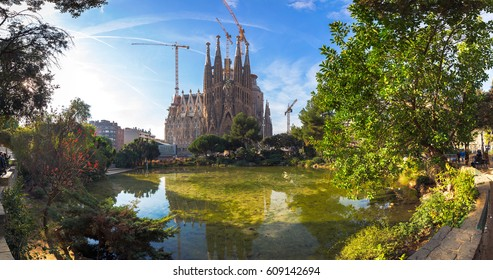 BARCELONA SPAIN - JANUARY 01 2017: Panorama view of La Sagrada Familia in day time, Large Roman Catholic cathedral in Barcelona, Spain, designed by Antonio Gaudi.