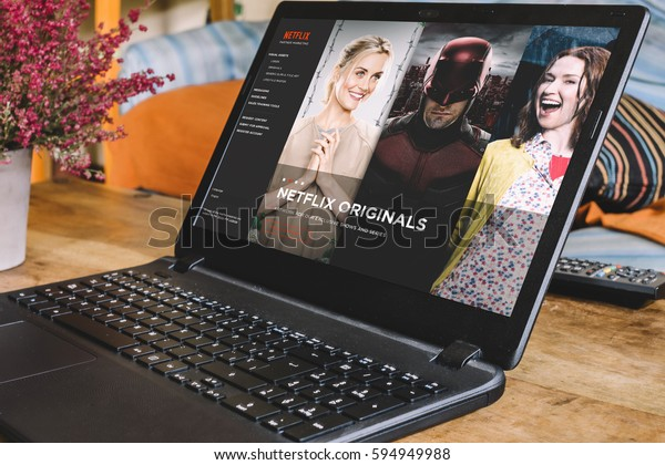 BARCELONA, SPAIN - JANUARY 02, 2016: Netflix app on Laptop screen. Netflix is an international leading subscription service for watching TV episodes and movies.