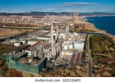 BARCELONA, SPAIN - JANUARY 02, 2018:  Aerial view of Industry power plant at Sand Adria de Besos from  copter. Barcelona
