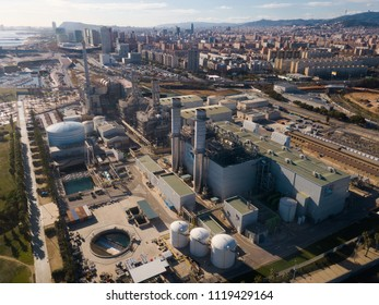 BARCELONA, SPAIN - JANUARY 02, 2018:  Aerial view of Industry power plant at Sand Adria de Besos from  copter