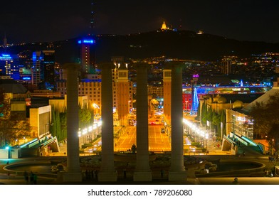 BARCELONA, SPAIN - JANUARY 02, 2018: View on Spanish square from National museum in night