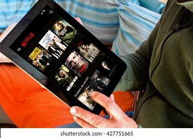 BARCELONA, SPAIN - JANUARY 05, 2016: Netflix app on tablet screen. Netflix is an international leading subscription service for watching TV episodes and movies.
