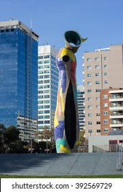 Barcelona, Spain - January 12, 2016. Dona i Ocell (Woman and Bird) is a 22-meter high sculpture by Joan Miro located in the Parc Joan Miro.