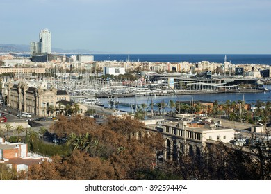 BARCELONA, SPAIN - January 12, 2016: View from Montjuic over Barcelona, Catalonia, Spain. Montjuic is a hill in Barcelona.