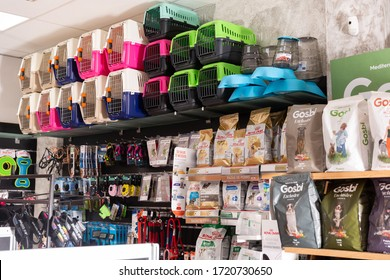 Barcelona, Spain - January 13, 2020: Assortment of pet feed for sale on shelves in shop