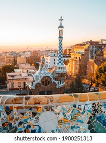 BARCELONA, SPAIN- JANUARY 16, 2020: Barcelona at sunrise viewed from park Guell, Barcelona