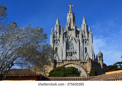 BARCELONA, SPAIN - JANUARY 18, 2015: Expiatory Church of the Sacred Heart of Jesus at Mount Tibidabo