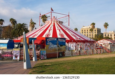 Barcelona, Spain - January 19, 2019: View of circus tent before new spectacle of Raluy Circus, Catalonia