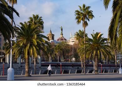 Barcelona, Spain - January 19, 2019: Embankment in Port Vell. Barcelona