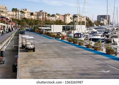 Barcelona, Spain - January 19, 2019: embenkment in Port Vell. Barcelona