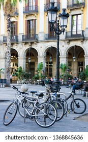 Barcelona, Spain - January 19, 2019: Bicycles on Royal Plaza- square in Barri Gotic of Barcelona, Catalonia