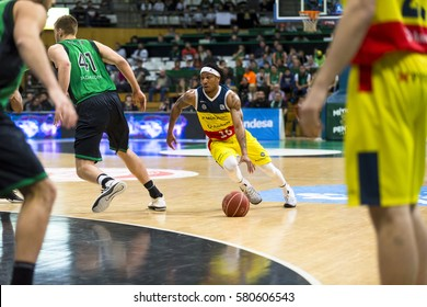 BARCELONA, SPAIN - JANUARY 2017 - Players in action at Spanish ACB Basketball League match between Joventut and Morabanc Andorra, final score 74 - 59, on Jan, 2017, in Badalona, Spain.