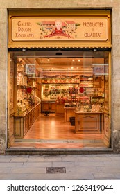 BARCELONA, SPAIN, JANUARY - 2018 - Front view exterior facadeof sweets store located at gotico district in barcelona city, spain.