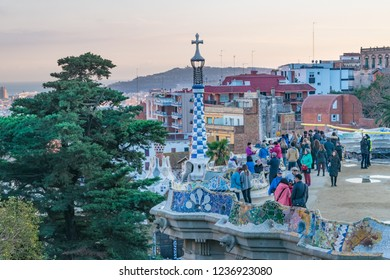 BARCELONA, SPAIN, JANUARY - 2018 - Group of tourist at guell park, Barcelona, Spain