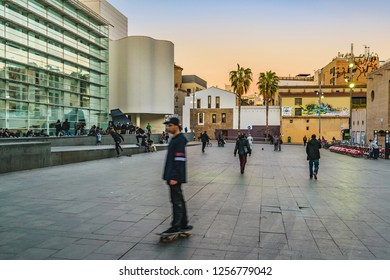 BARCELONA, SPAIN, JANUARY - 2018 - People at esplanade of angels square at the contemporary art museum of barcelona city, Sapin