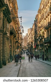 BARCELONA, SPAIN, JANUARY - 2018 - Urban day winter scene at tipical street at gothic district in barcelona city, spain