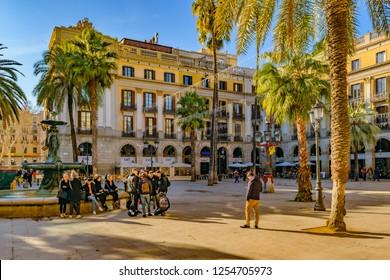 BARCELONA, SPAIN, JANUARY - 2018 - Winter day scene at medinaceli duke square at gothic neighborhood in barcelona, spain