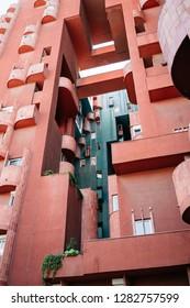 Barcelona, Spain, January 2019: Walden 7, building by architect Ricardo Bofill.