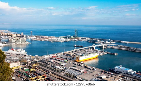 Barcelona, Spain - January 21, 2019: View from Montjuic Castle of Barcelona industrial port docked with ships