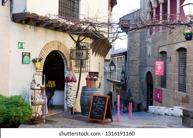 Barcelona, Spain - January 21, 2019: Territory of unique architectural complex Poble Espanyol the Spanish village, where copies of known and beautiful houses of country houses