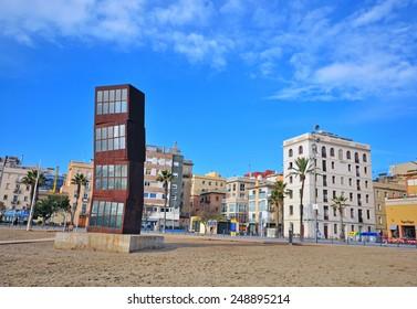 BARCELONA, SPAIN - JANUARY 21: View of Barceloneta district and beach of Barcelona on January 21, 2015. Barcelona is the capital city of Catalonia, Spain.