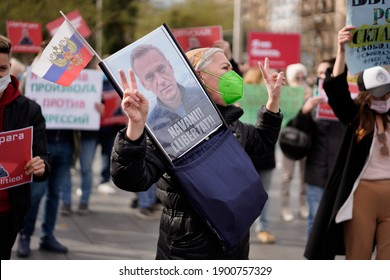 Barcelona, Spain - January 23rd, 2021: Protesters against imprisonment of Russia's opposition leader Alexey Navalny
