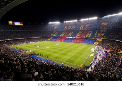 BARCELONA, SPAIN - JANUARY 25: View of Camp Nou stadium before the Spanish Copa del Rey match between FC Barcelona and Real Madrid, final score 2 - 2, on January 25, 2012, in Barcelona, Spain.