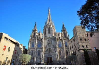BARCELONA, SPAIN - JANUARY 25: View of the Cathedral of Barcelona on January 25, 2015. Barcelona is the capital city of Catalonia, Spain.