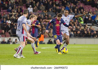 BARCELONA, SPAIN - JANUARY 27: Lionel Messi (10) of FCB in action at the Spanish League match between FC Barcelona and Osasuna, final score 5 - 1, on January 27, 2013, in Barcelona, Spain.