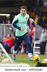 BARCELONA, SPAIN - JANUARY 3: Lionel Messi in action at FC Barcelona team in open doors training session at Mini Estadi stadium, with 13,200 spectators, on January 3, 2014, in Barcelona, Spain.