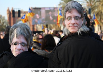 Barcelona, Spain - January 30, 2017: People wearing a mask with the face of Carles Puigdemont on the day when it was supposed he was going to be voted president of Catalonia by Catalan parliament