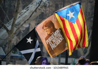 """Barcelona, Spain - January 30, 2017: Flag with the electoral message """"Puigdemont our president"""" at a concentration to support the former president of Catalonia Carles Puigdemont to be reelected"""